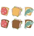 Cartoon set of sandwiches with different stuffing vector image