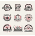 Circus vintage isolated label set vector image