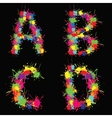 Colorful alphabet with blots ABCD vector image