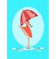 Seasonal card with girl in the rain vector image