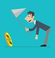 businessman running for the coin vector image