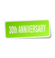 30th anniversary square sticker on white vector image
