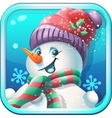 Icon jolly snowman in cap for computer game vector image vector image