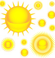 Sun colorful icon set vector image