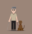 Blind Man with Dog vector image