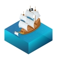 Isometric Pirate Ship with Jolly Roger on water vector image
