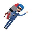 businessman flying with jetpack startup vector image