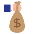 Hand Holding Bag of Cash vector image