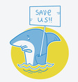 Save sharks card on white vector image