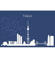 Tokyo city skyline on blue background vector image