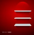 Empty white ehelf for exhibit on red background Vector Image