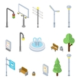 Isometric city street icons 3d urban vector image vector image