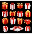 Bunch of gift boxes with ribbons vector image