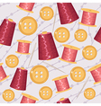 Seamless sewing background with knits buttons and vector image