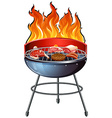 Different types of meat on the grill vector image