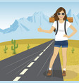 hitchhiking woman with backpack and sunglasse vector image