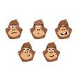 gorilla cute monkey faces emoticons vector image
