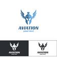 aviation logo design two vector image