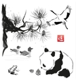 Card with cedar in the bird and panda bear vector image