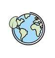 earth planet with ecological leaf design vector image