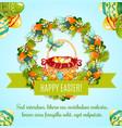 easter egg hunt basket with flowers greeting card vector image