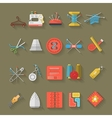 Flat design icons collection of sewing items vector image