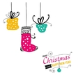 Post card with Christmas doodles vector image
