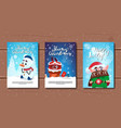 set of merry christmas banners on wooden vector image