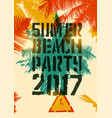 summer beach party typographic grunge poster vector image