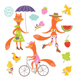 set of a fanciful foxes vector image