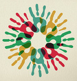 Diversity group of hands teamwork color concept vector image