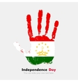 Handprint with the Flag of Tajikistan in grunge vector image
