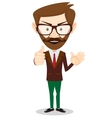 Smiling and winking cartoon business man giving vector image
