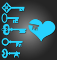 keys from heart vector image vector image