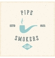 Pipe Smokers Club Abstract Vintage Label or Logo vector image