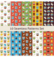 School and Education Owls Flat Seamless Patterns vector image