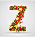 christmas font letter z of christmas tree vector image