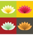 Flat lotos flowers on color background vector image