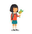 schoolgirl happy schoolgirl with backpack vector image