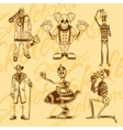 Skeletons - clowns set Vinyl-ready vector image