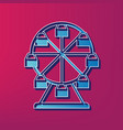 ferris wheel sign  blue 3d printed icon on vector image