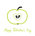 Green apple with heart shape Happy Valentines Day vector image