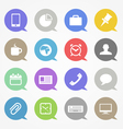 Business web icons set in color speech clouds vector image