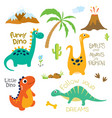 dinosaur footprint volcano palm tree and other vector image