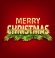 Merry Christmas Background with Golden Text and vector image