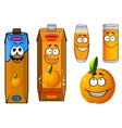 Orange juice and fruit cartoon icons vector image