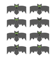 Set of bats decorative icons for Halloween vector image