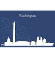 Washington city skyline on blue background vector image