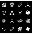white atom icon set vector image