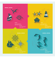 Set of sea labels flat design vector image vector image
